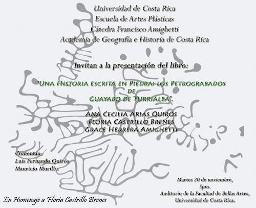 Afiche del libro Una historia escrita en piedra: los petrograbados de Guayabo de Turrialba